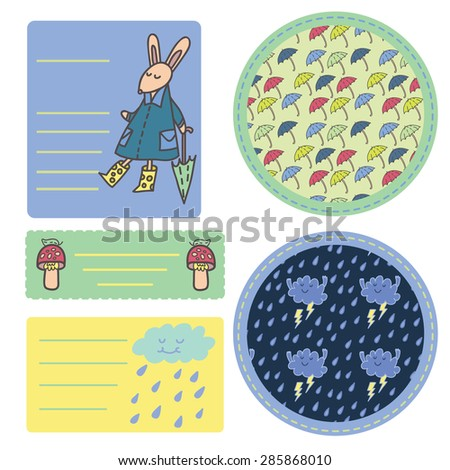 Summer rain sticker set with cute funny rabbit, mushrooms, umbrella's pattern, cool clouds and raindrops.  - stock vector