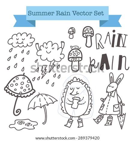 "Summer rain vector set with cute hedgehog, funny rabbit, mushrooms, umbrellas, cool clouds, raindrops and hand drawn lettering ""Rain"" - stock vector"