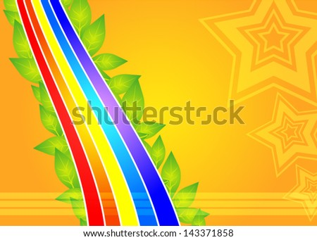 Summer rainbow background with stars - stock vector