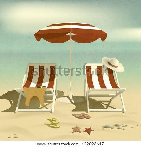 Summer. Recliners and Beach umbrella. Summer rest. Beach and sea. Vector Illustration