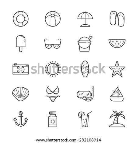 Summer Relax and Beach Icons Line - stock vector
