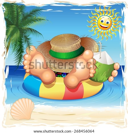 Summer Relax on the Sea - stock vector
