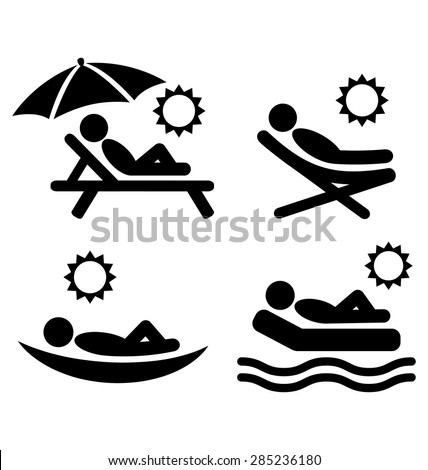 Summer relax sunbathing pictograms flat people icons isolated on white background - stock vector