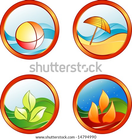 Summer rest icons - stock vector