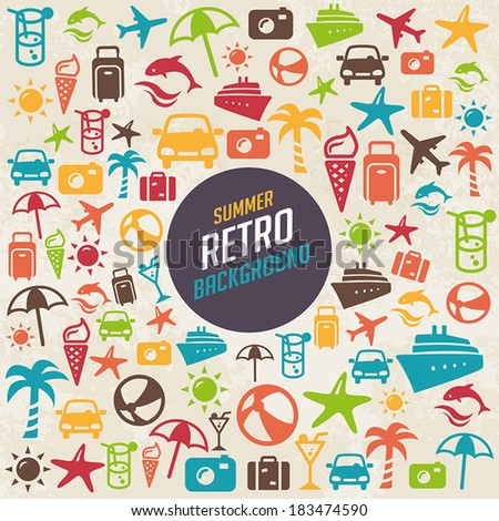 Summer retro background with icons representing holidays and traveling. - stock vector