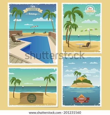 Summer Retro Backgrounds - stock vector