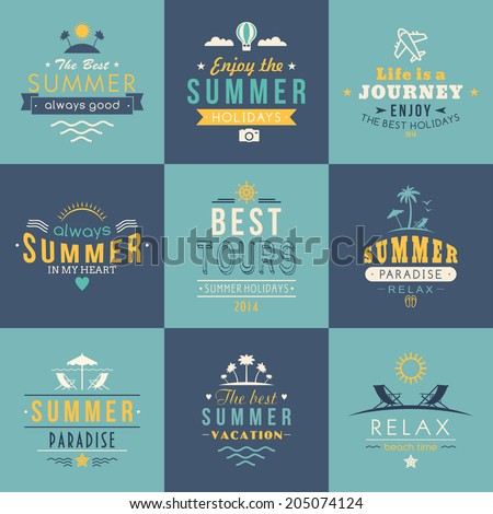 Summer retro design elements. Summer holidays vector set. Vintage ornaments and labels, tropical paradise, beach vacation, adventure and travel. - stock vector