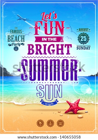 Summer retro poster. Seascape with vintage typography. Vector illustration. - stock vector