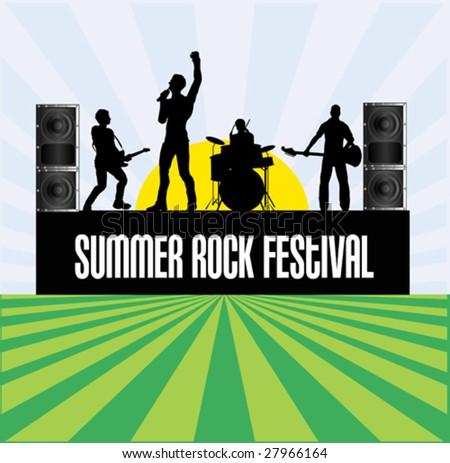 Summer Rock Festival Flyer - stock vector