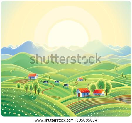Summer rural landscape with village. - stock vector
