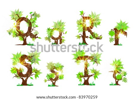 summer's organic alphabet - stock vector