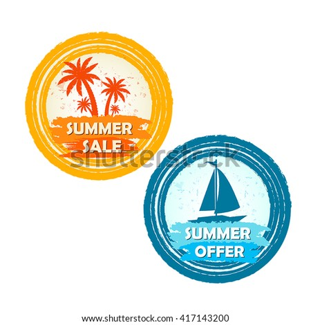 summer sale and offer banners with palms and boat signs - text in yellow orange and blue drawn circle labels with symbols, business seasonal shopping concept, vector - stock vector