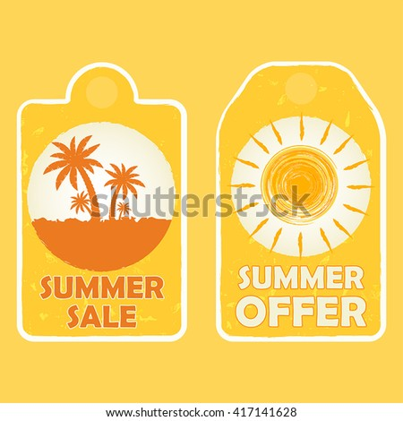 summer sale and offer labels with palms and sun signs - text in yellow drawn banners with symbols, business seasonal shopping concept, vector - stock vector