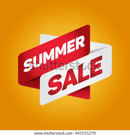 SUMMER SALE arrow tag sign icon. Discount symbol. Special offer label. Yellow background.