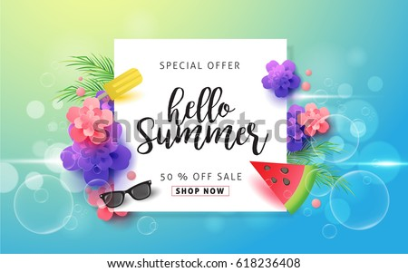 Summer sale background template.Vector illustration.