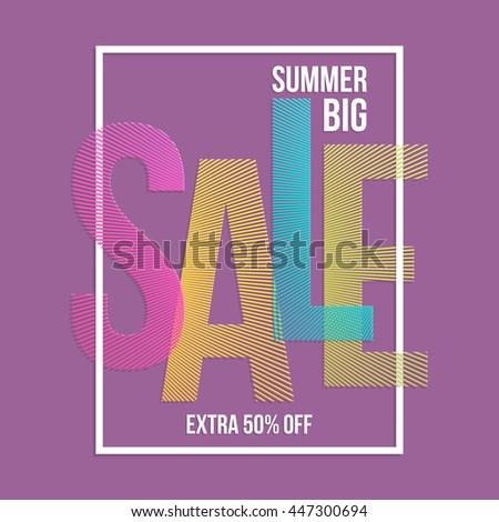 Summer sale background. Vector background for banner, poster, flyer, card, postcard, cover, brochure. - stock vector