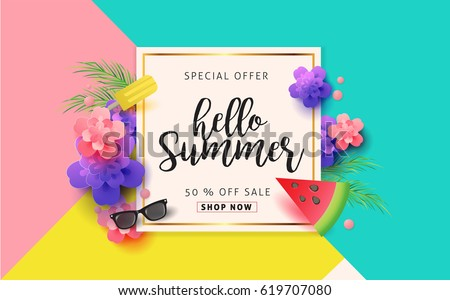 Summer sale banner background layout .Vector illustration template.