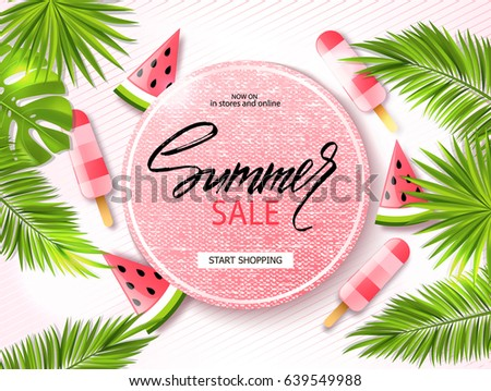 Summer sale banner, poster with palm leaves, jungle leaf, ice cream, watermelon and handwriting lettering. Tropical background. Vector illustration EPS10