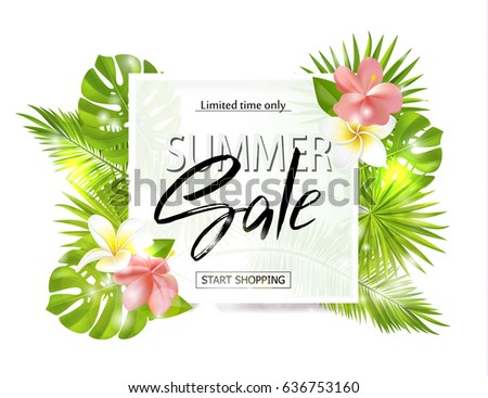 Summer sale banner, poster with palm leaves, jungle leaf, tropical flowers and handwriting lettering. Vector illustration EPS10