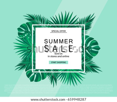 Summer sale banner, poster with tropical plants and leaves. Vector illustration.