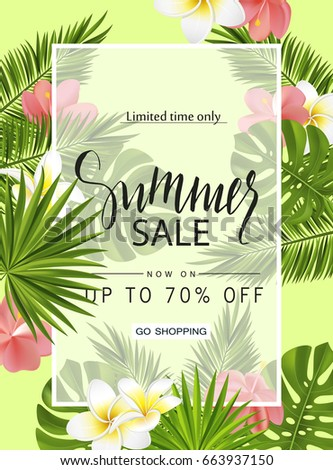 Summer sale banner, poster with tropical plants, leaves and flowers. Vector illustration