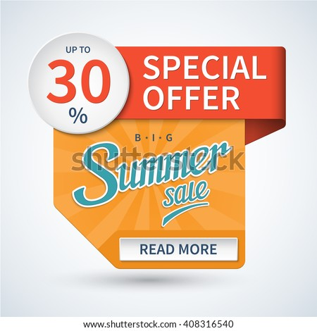 Summer sale banner. Special offer design template. Discount sticker. Vector background - stock vector