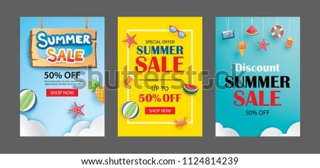 summer sale banner templates paper art stock vector 1124814239