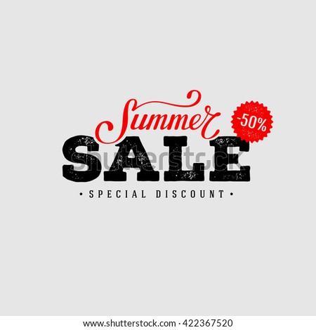 Summer Sale banner. Vintage design. Vector illustration. - stock vector
