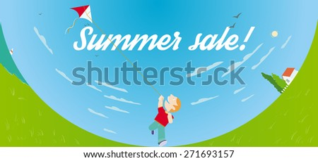 Summer sale banner with kite