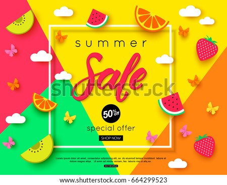 Summer Sale banner with pieces of ripe fruit, berries on colorful background. Vector eps 10 format
