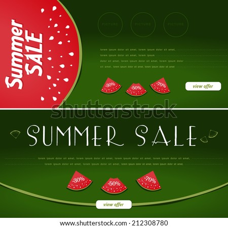 Summer Sale banners, watermelon style - stock vector