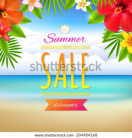 Summer Sale Card, With Gradient Mesh, Vector Illustration - stock vector