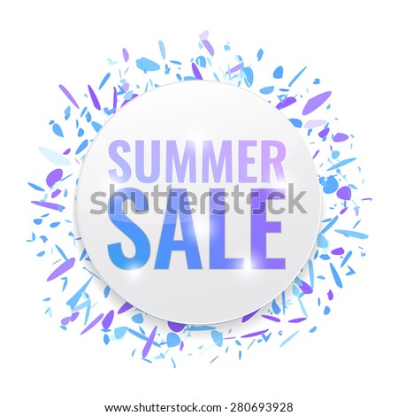Summer Sale circle tags with abstract background. Concept of discount. Vector illustration. - stock vector