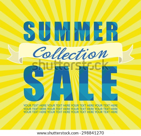 Summer sale collection. Text design against sun radial rays background. Vector illustration. - stock vector