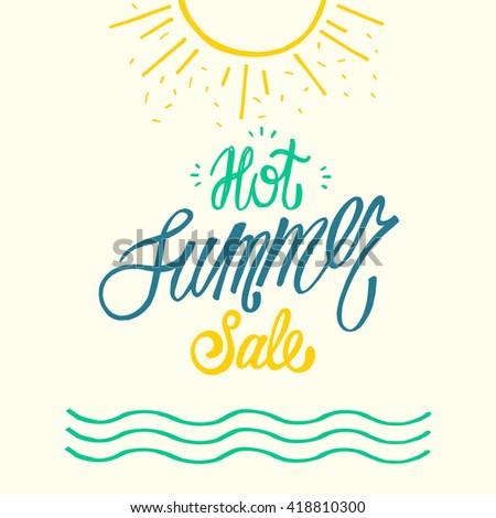Summer Sale Design brush hand drawn Background for Summer Seasonal Promotion. Vector Illustration. - stock vector