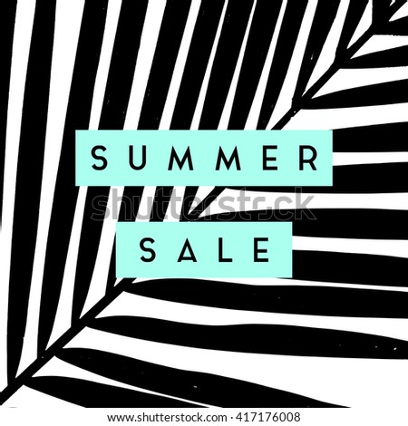 Summer sale design with palm leaves silhouettes background in black and white. - stock vector