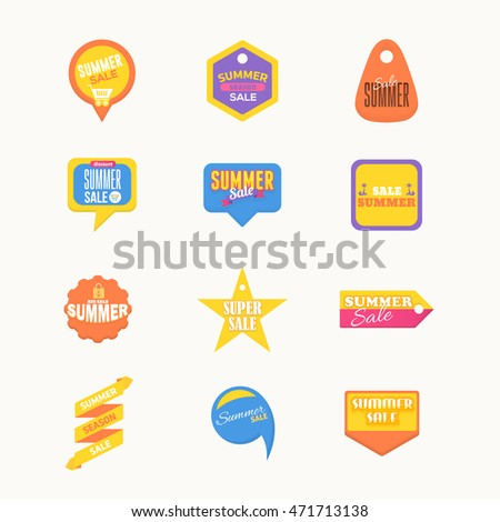 Summer Sale Flat Tags, Sticker