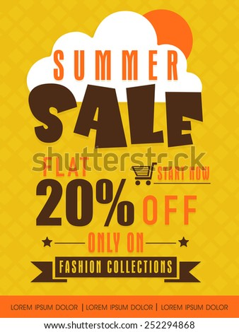 Summer sale flyer, banner or poster with flat discount only on fashion collections. - stock vector