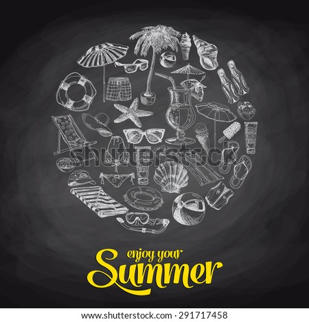 Summer sale hand drawn vector illustration. Sketch. Chalkboard - stock vector