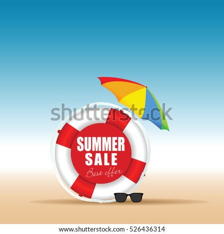 summer sale in live saver color design art illustration