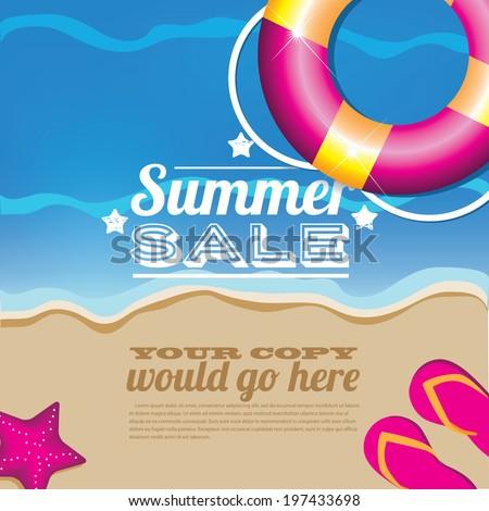 Summer sale inner tube background. Eps 10. - stock vector