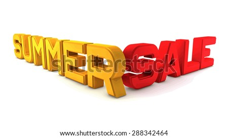 Summer Sale. Large three-dimensional letters on a white background. Strong perspective. The letters of gold and red.