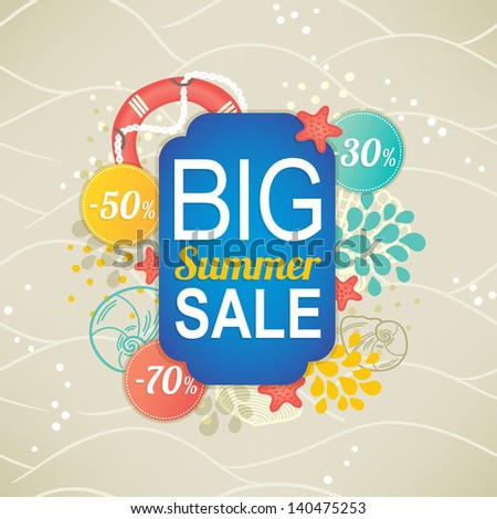 Summer sale. Main label with percent stickers