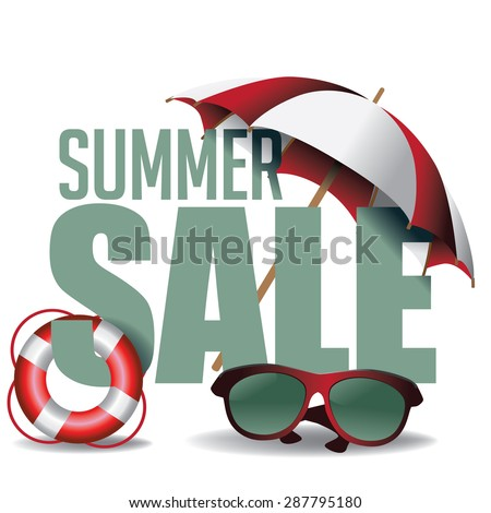 Summer sale marketing header. EPS 10 vector. Stock Vector Illustration for greeting card, ad, promotion, poster, flier, blog, article, social media, marketing - stock vector