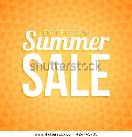 Summer sale on orange triangle background.