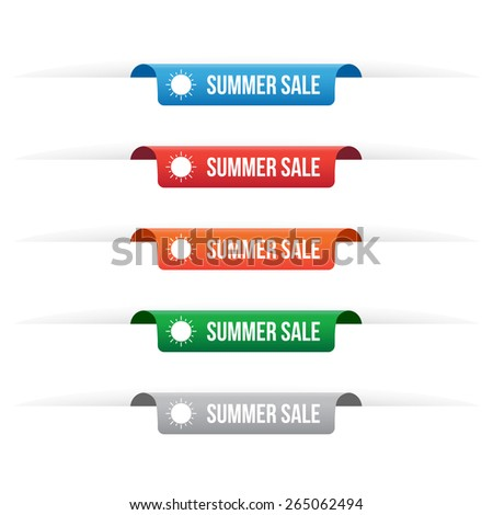 Summer sale paper tag labels - stock vector