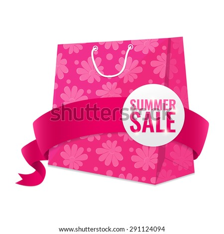 Summer sale pink shopping bag with flowers pattern and ribbon. Discount concept vector illustration. - stock vector