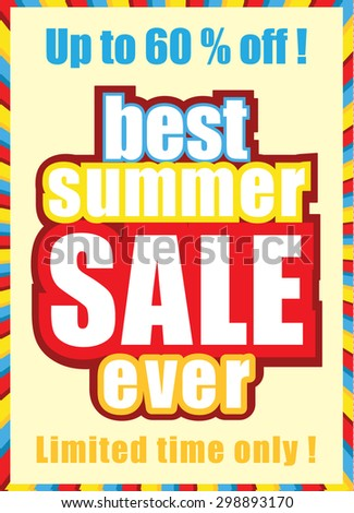 Summer sale poster. Colorful typographic design. Vector illustration.