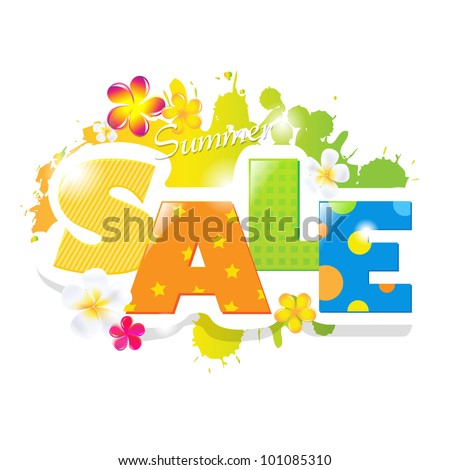 Summer Sale Poster Design Template, Vector Illustration - stock vector