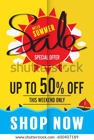 summer sale poster vector stock vector royalty free 600407189